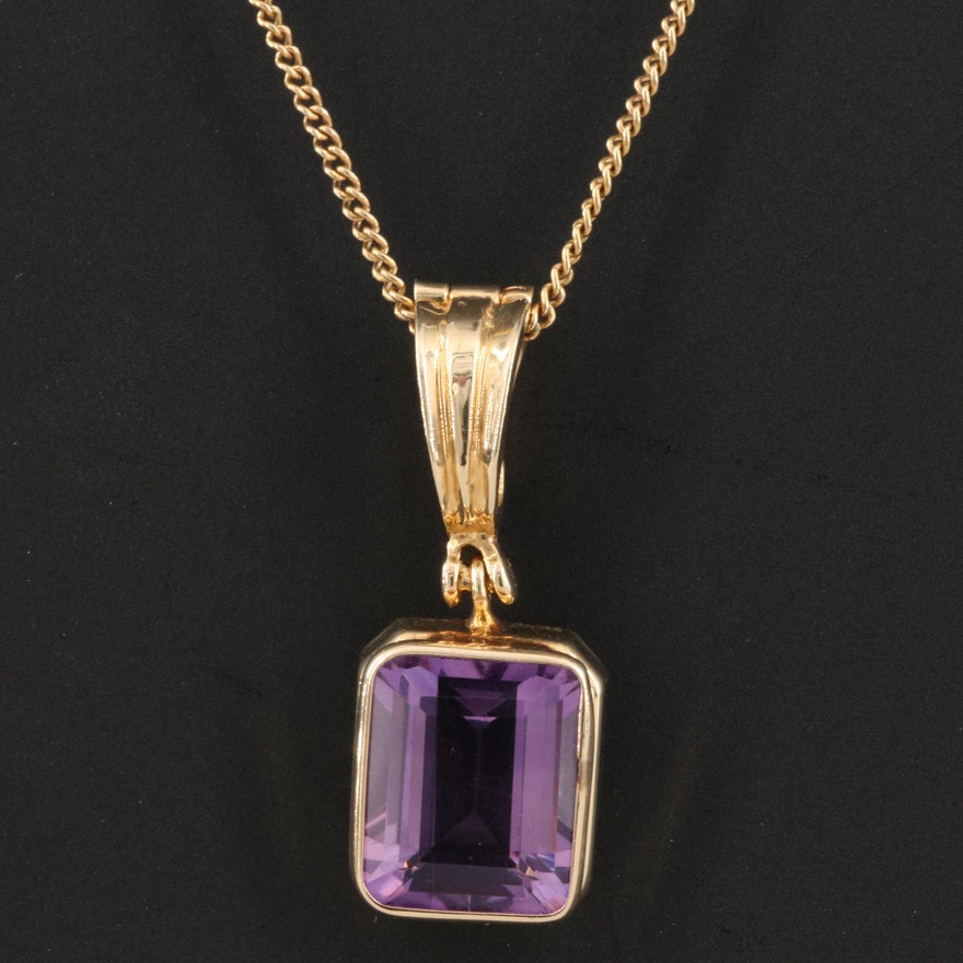 14K Amethyst Pendant Necklace
