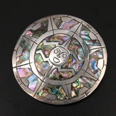 Mexican Sterling Abalone Inlay Converter Brooch
