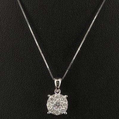 14K Diamond Halo Pendant Necklace