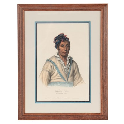 """Hand-Colored Lithograph After Charles Bird King """"Spring Frog. A Cherokee Chief"""""""