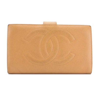 Chanel CC Tan Caviar Leather Long Wallet