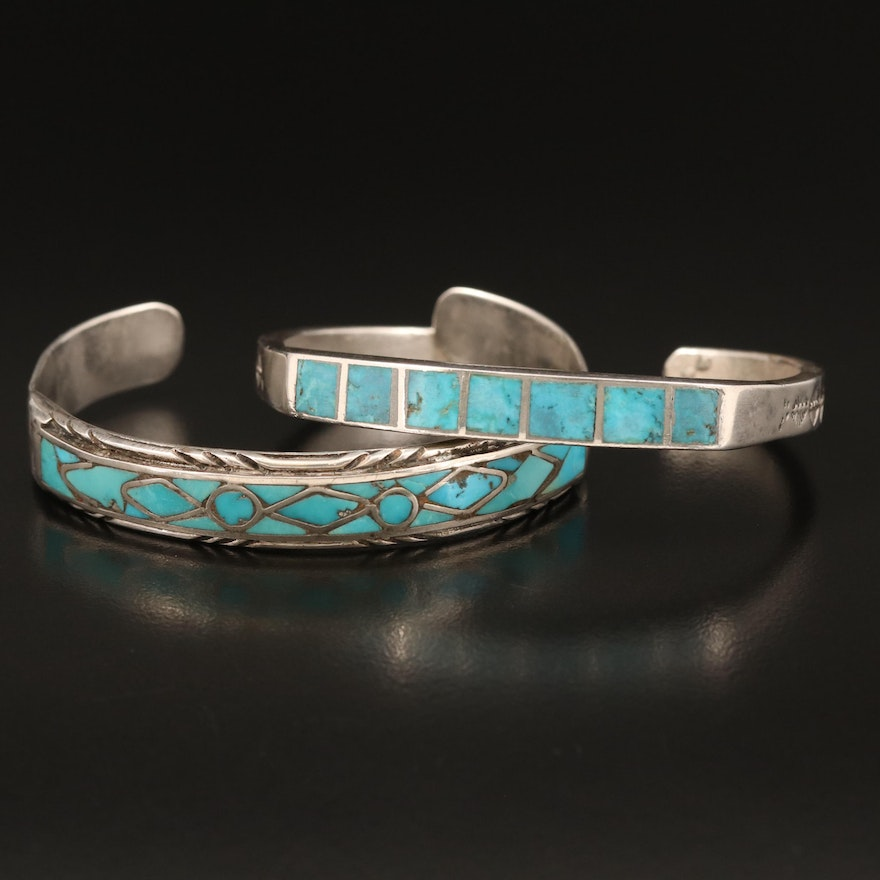 Western Style Sterling Turquoise Inlay and Stamped Cuffs