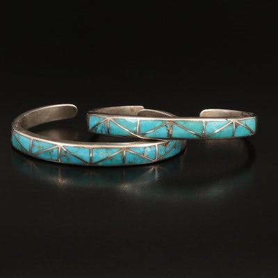 Western Style Sterling Turquoise Inlay Cuffs