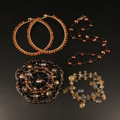 Beaded Jewelry with Station Necklace and Wire Wrapped Bangles