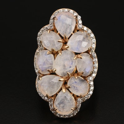 Sterling Rainbow Moonstone and Zircon Cluster Ring