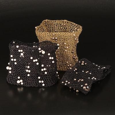 Faux Pearl Knitted Mesh Bracelets