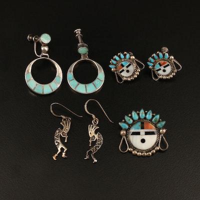 Sunface Drop, Kokopelli and Inlay Hoop Earrings