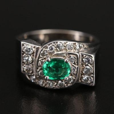 Retro 14K Emerald and Diamond Ring