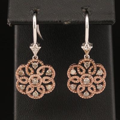 Sterling Diamond Scrollwork Earrings