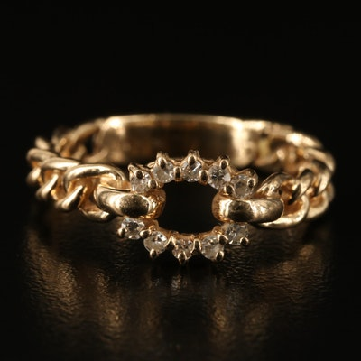 14K Diamond Twisted Ring