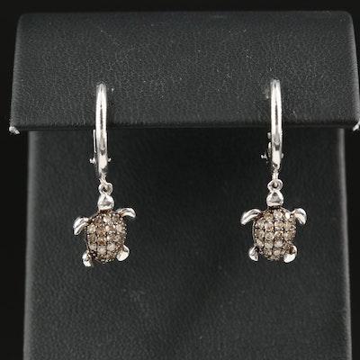 Sterling Diamond Sea Turtle Figural Earrings