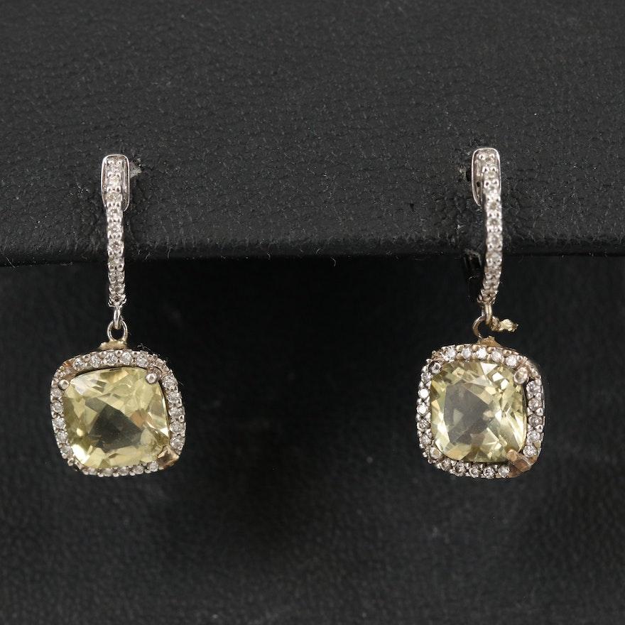 14K Citrine and Diamond Drop Earrings