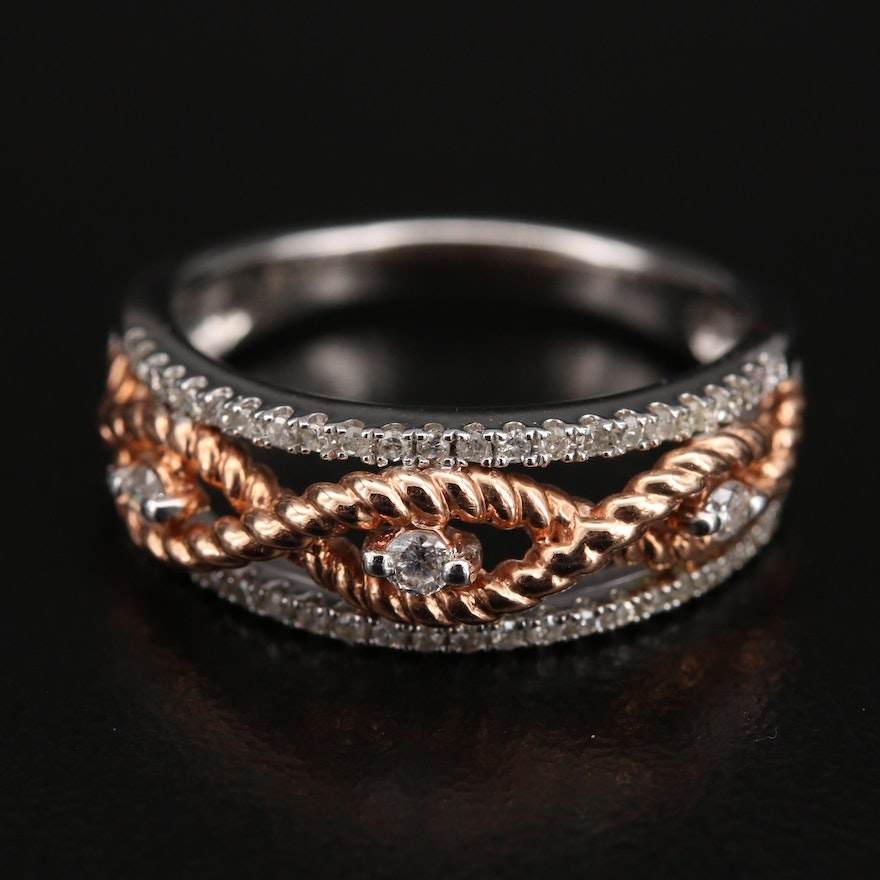 10K Diamond Ring with Twisted Rose Gold Wirework