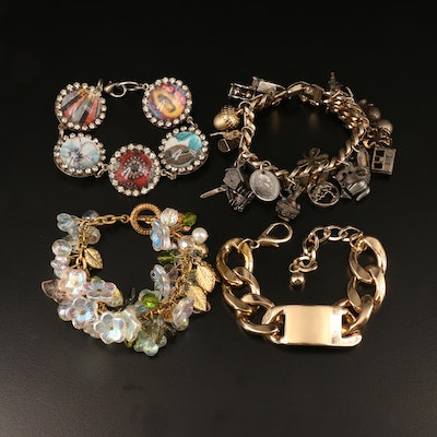 Flower, ID and Charm Bracelets Including 1959 Spanish 10 Centimos