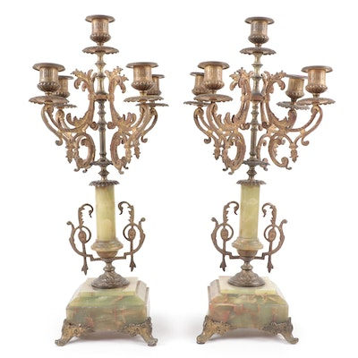 Louis XVI Style Gilt Cast Metal and Green Onyx Candelabras, Early 20th Century