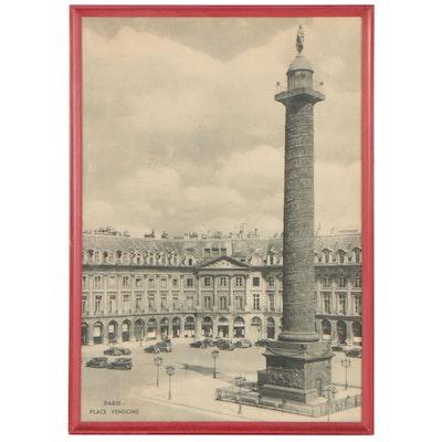 "Rotogravure Travel Poster ""Paris: Place Vendome"""