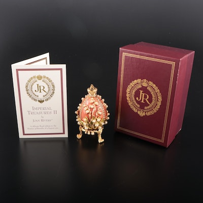 """Joan Rivers Worldwide Fabergé Style """"Lillies of the Valley"""" Egg Figurine"""