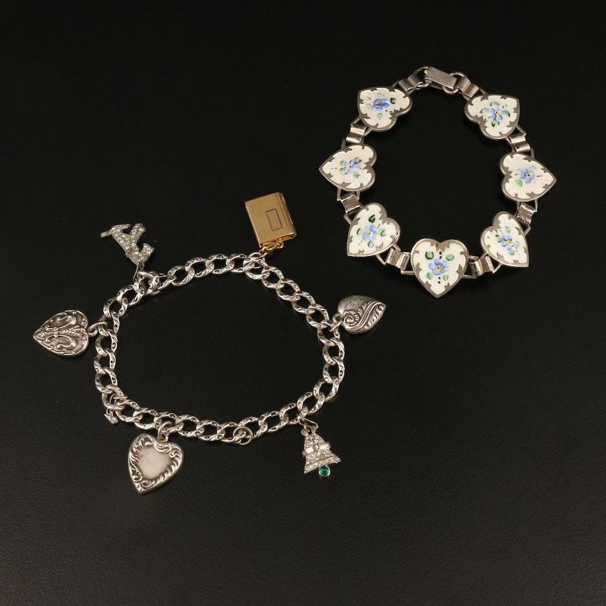 1940s Heart and Charm Bracelets