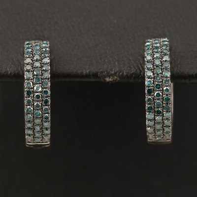 Sterling Blue Diamond Huggie Earrings