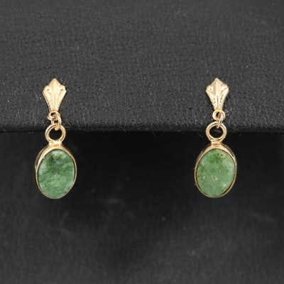 14K Nephrite Stud Earrings