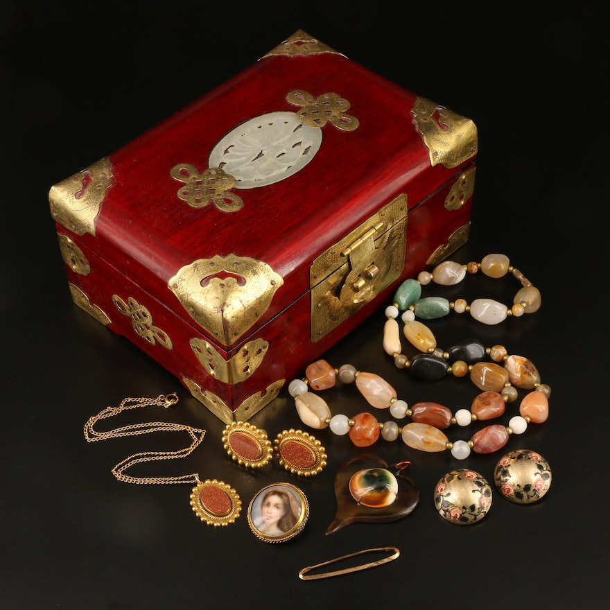 Vintage and Antique Jewelry Including Brass and Wooden Jewelry Box
