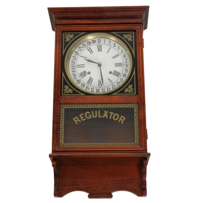 Hayde-Trapani Regulator Walnut Wall Clock, Mid-20th Century