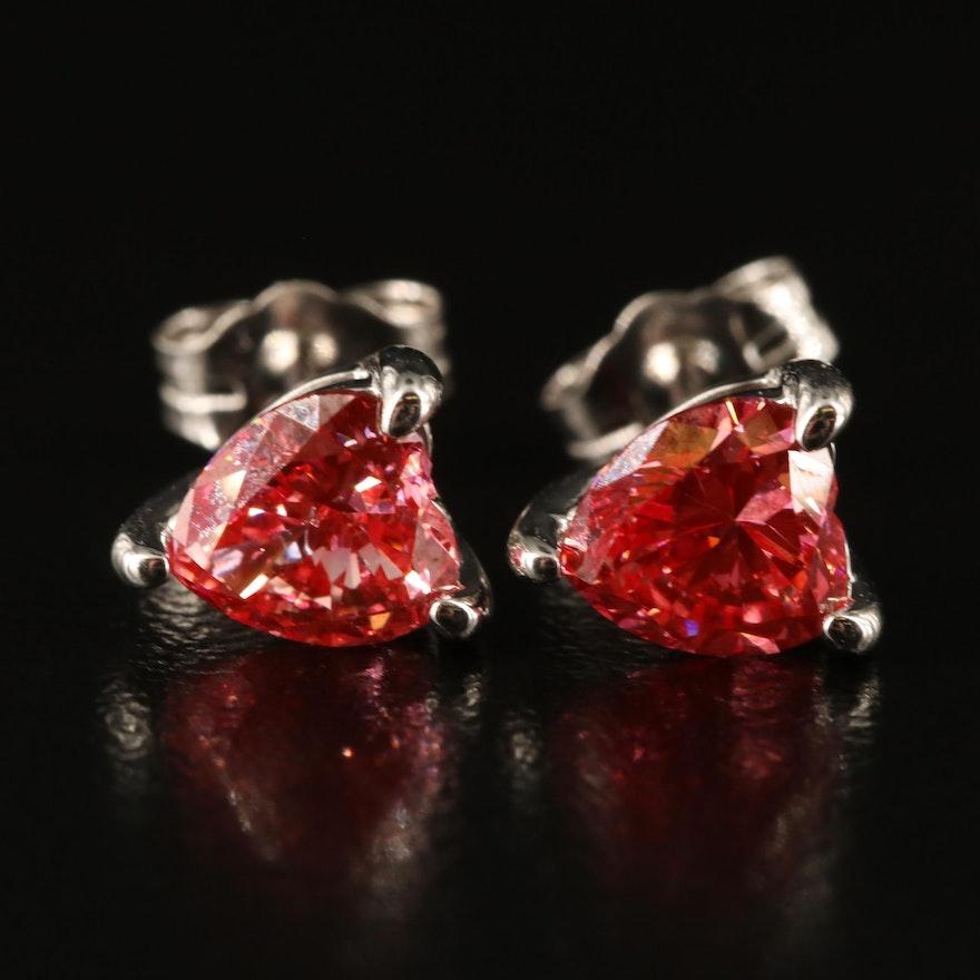 14K 1.24 CTW Diamond Heart Stud Earrings