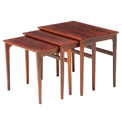 Set of Three Modernist Rosewood Graduated Side Tables, Mid to Late 20th Century
