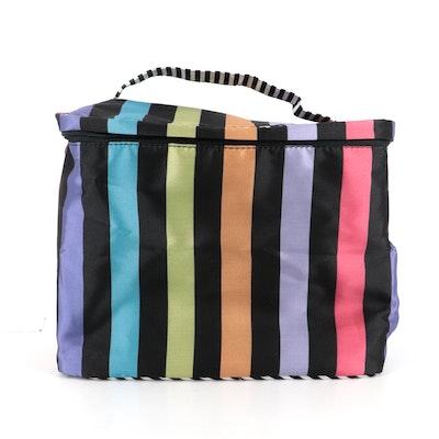 MacKenzie-Childs Tivoli Gardens Train Case in Multicolor Striped Polyester