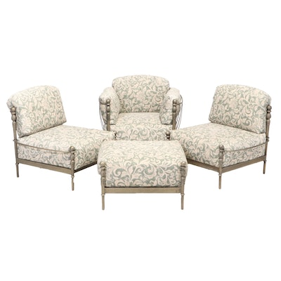 Three Verdigris-Patinated and Cast Metal Patio Lounge Chairs Plus Ottoman
