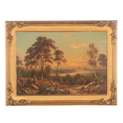 Johann Anton Castell Romantic Landscape Oil Painting, 1864