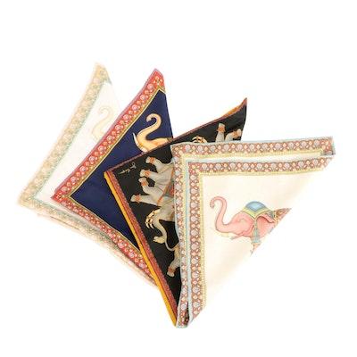 Jim Thompson Set of Four Elephant Motif Silk Pillow Cases