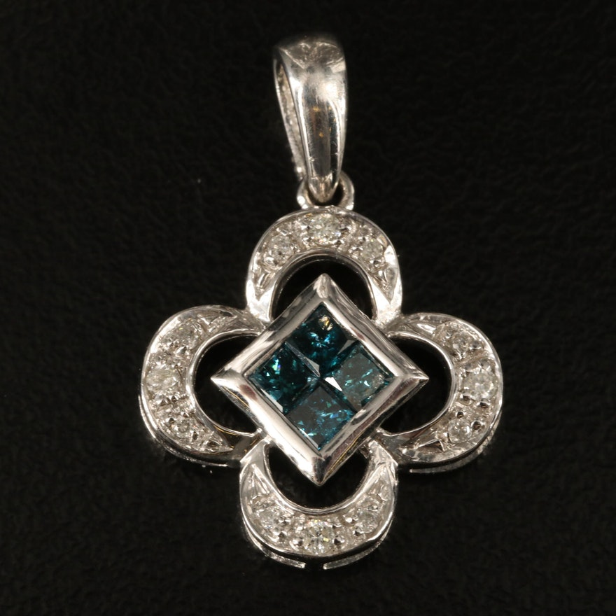 Sterling Diamond Quatrefoil Pendant