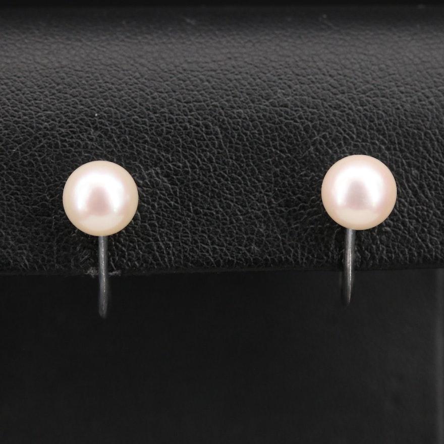Vintage Mikimoto Sterling Pearl Earrings