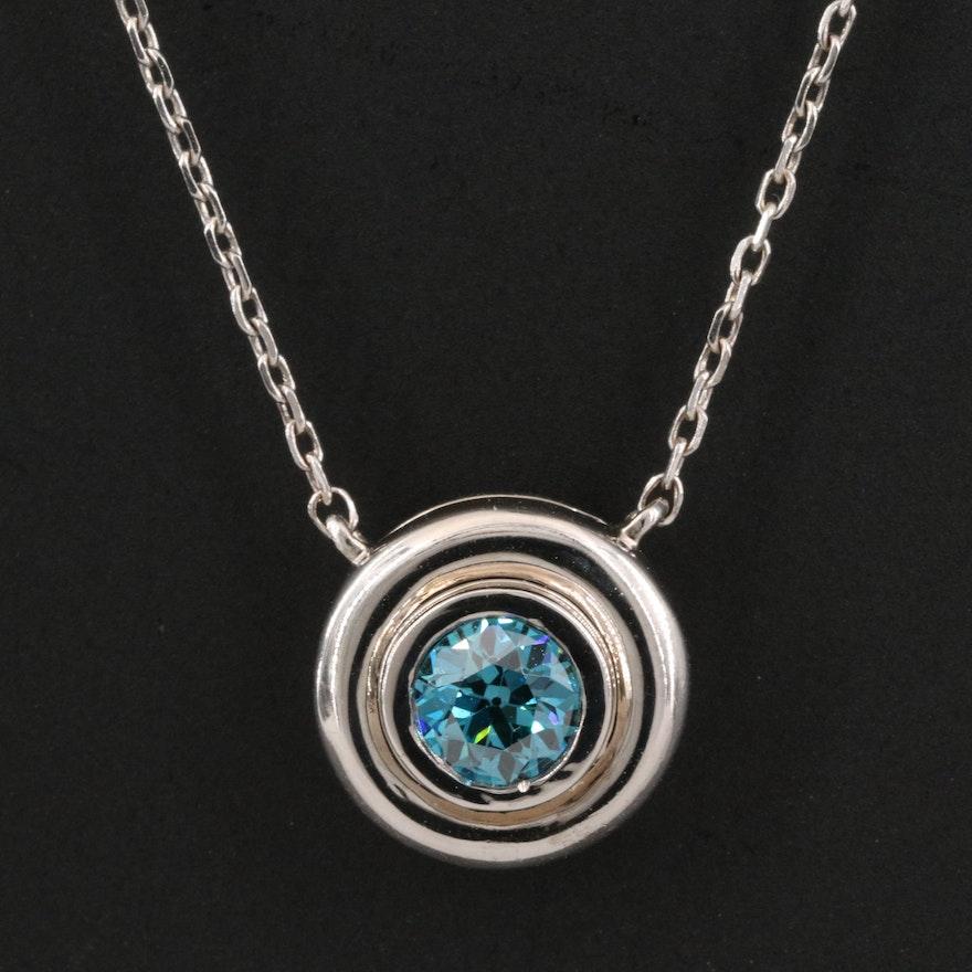 14K Bezel Set Diamond Stationary Pendant Necklace