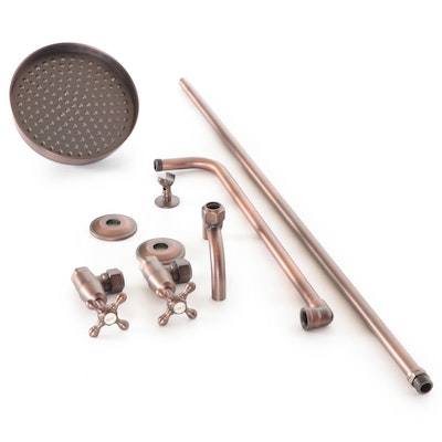 Exposed Pipe Shower with Rainfall Showerhead in Oil Rubbed Bronze