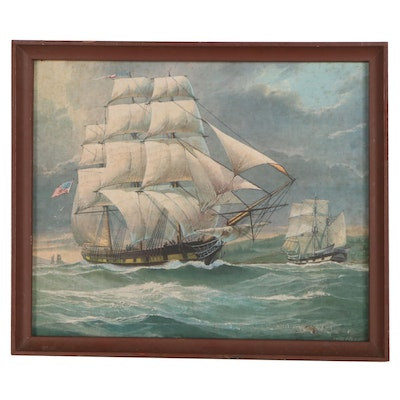 Offset Lithograph After James E. Mitchell of Ships at Sea, Late 20th Century