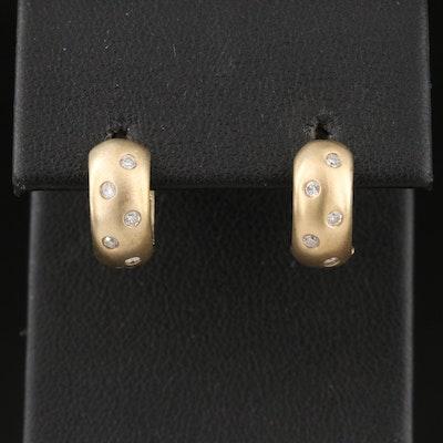 14K Diamond Gypsy Set Huggie Earrings with Matte Finish