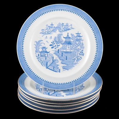 """Royal Worcester """"Blue Willow"""" Stoneware Dinner Plates, Mid-20th Century"""