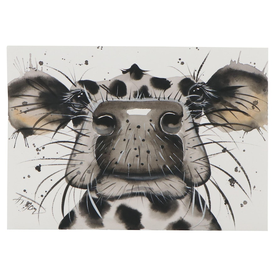 Anne Gorywine Watercolor Painting of Cow, 2021