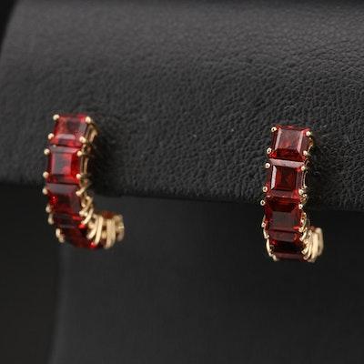 14K Garnet Half Hoop Earrings