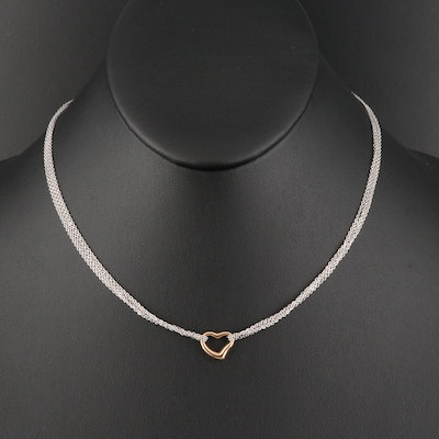 Italian 14K Multi-Strand with Rose Gold Heart Necklace