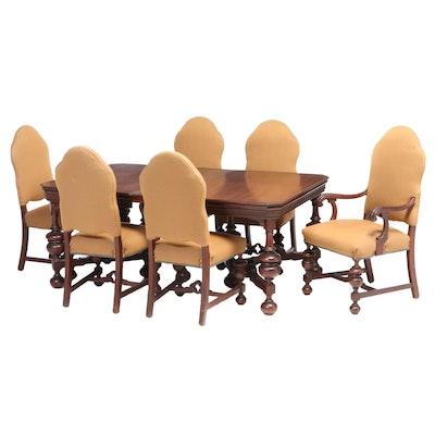 Seven-Piece Jacobean Style Walnut Dining Set, Early 20th Century
