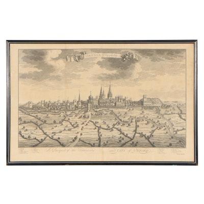 """Johannes Kip Engraving """"Oxoniae Prospectus"""""""