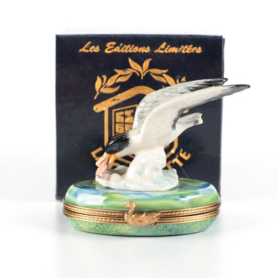 La Gloriette Seagull Catching Fish Porcelain Limoges Box