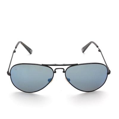 MCM 101S Black Foldable Aviator Sunglasses with Case