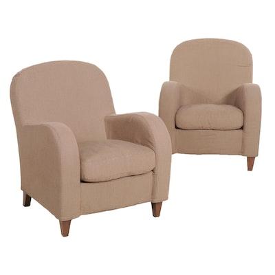 "Pair of Contemporary Poltrona Frau ""Daisy"" Italian Upholstered Club Chairs"