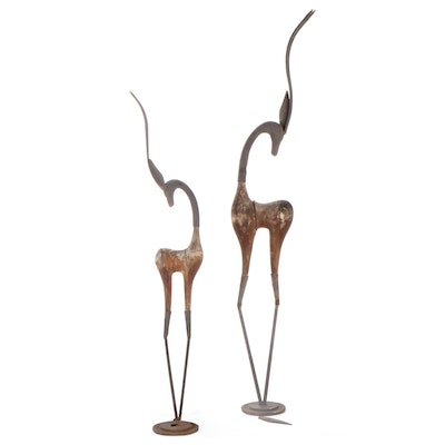 Pair of Decorative Wood and Metal Gazelle Figurines