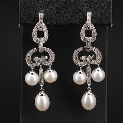 Sterling Pearl and Diamond Girandole Earrings with Milgrain Accents