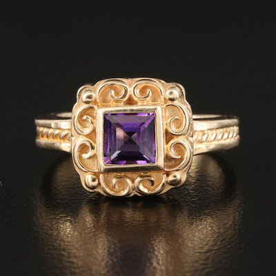 14K Amethyst Ring with Scrollwork Detail